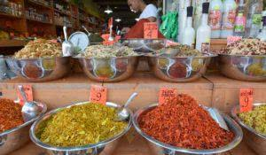 JERUSALEM - MAR 25 2015:Spices on display in Mahane Yehuda Market in Jerusalem, Israel.The spice trade developed throughout South Asia and Middle East in around 2000 BC  with cinnamon and pepper