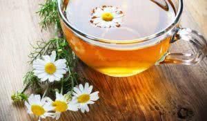 chamomile tea on wooden table
