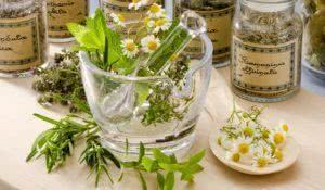Herbal Medicine. Rosemary, mint, chamomille, thyme in a glass mortar. Blue background.